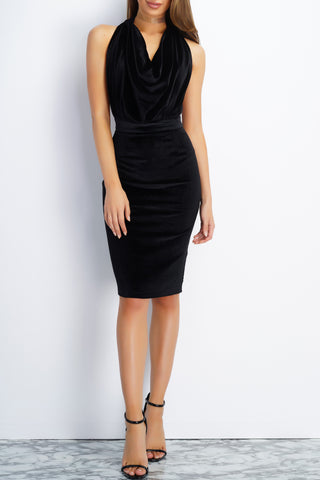 Girl Crush Velvet Draped Dress - Black