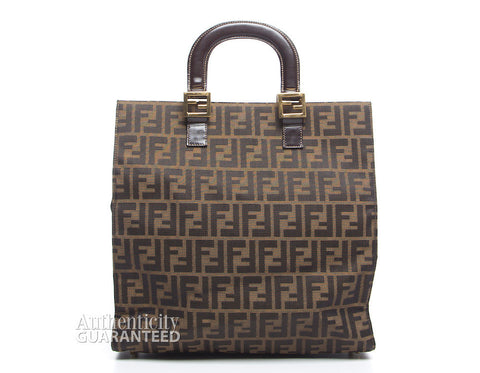 Fendi Brown Zucca Vertical Top Handle Bag