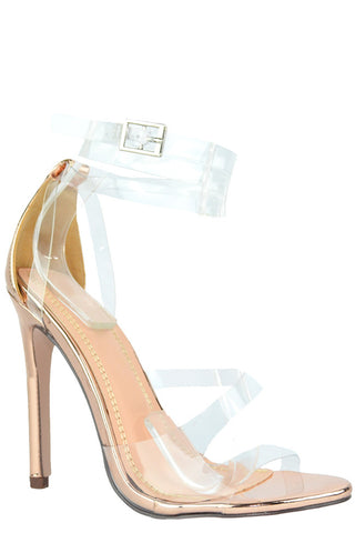 Laura Perspex Heels - Rose Gold