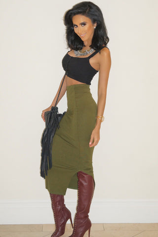 Emma Bodycon Midi Skirt - Olive - WantMyLook