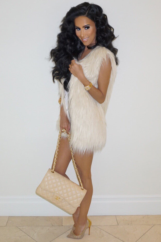 Frida Faux Fur Vest - Ivory - WantMyLook