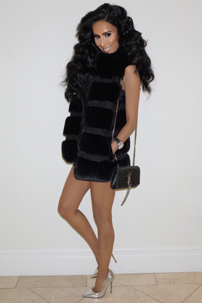 Skylar Faux Fur Vest - Black - WantMyLook
