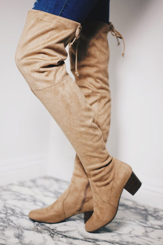 Seattle Suede Over The Knee Boots - Natural