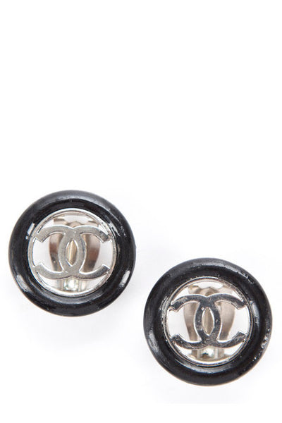 Chanel Vintage Black Silver CC Button Clip On Earrings