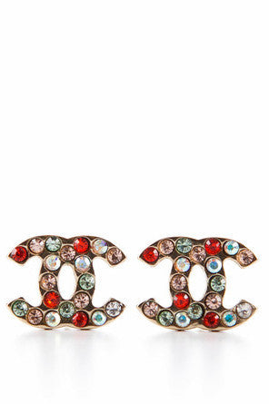 Chanel Vintage Gold CC Multicolor Rhinestone Pierced Earrings