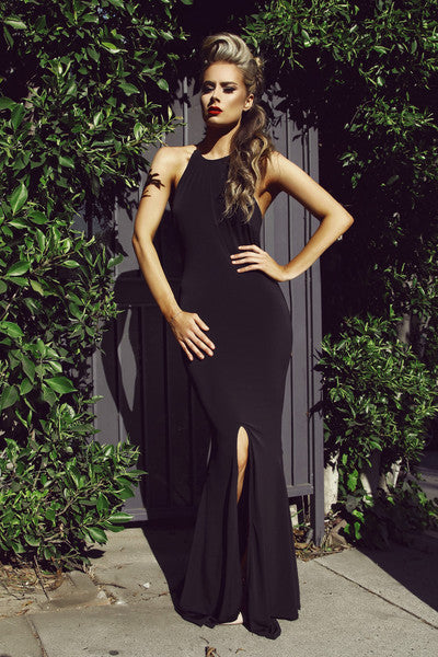 Ily Chain Back Gown - Black - WantMyLook