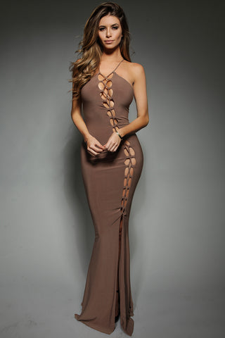 Tiernan Dress - Mocha - WantMyLook