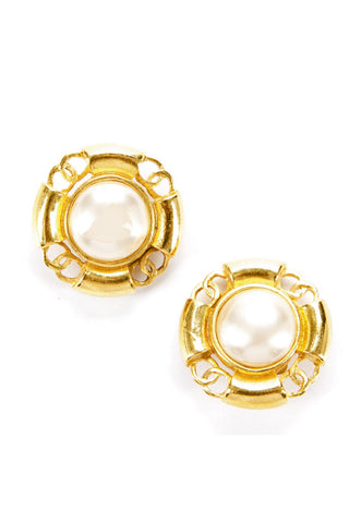 Chanel Faux Pearl Gold CC Vintage Clip On Earrings