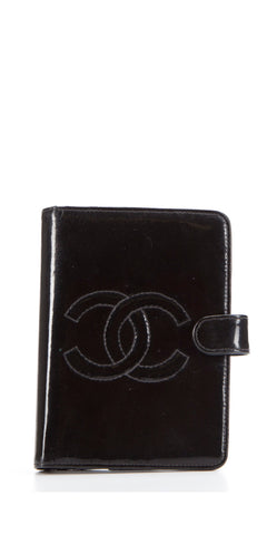 Chanel Vintage Black Patent Leather Small Agenda Cover