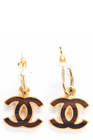 Chanel Vintage Brown Wooden CC Drop Pierced Earrings