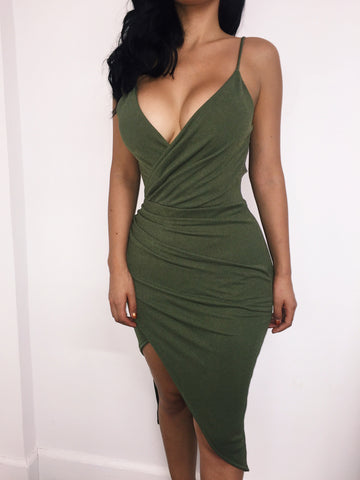 Maren Wrap Dress - Olive - WantMyLook