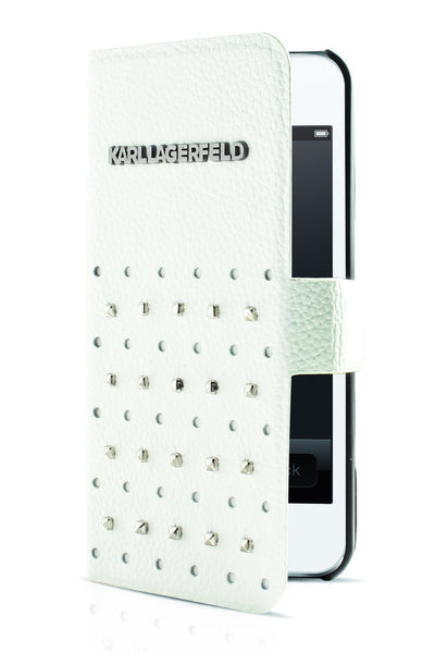 Karl Lagerfeld Trendy Studded Booktype Case - White