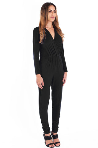 Lisa Suede Jumpsuit - Black - WantMyLook