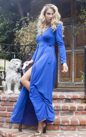 Yasmin Wrap Dress - Blue