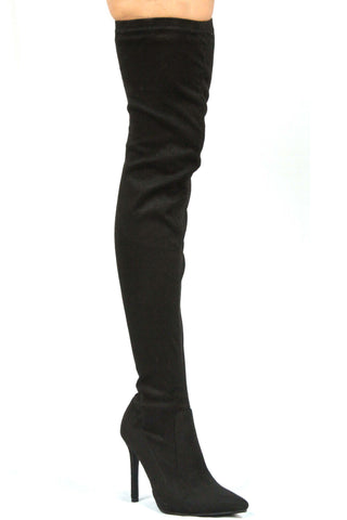 Demi Over The Knee Boots - Black - WantMyLook