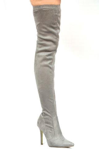 Demi Over The Knee Boots - Grey