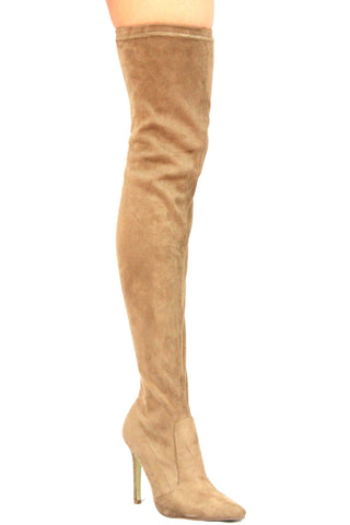 Demi Over The Knee Boots - Khaki - WantMyLook