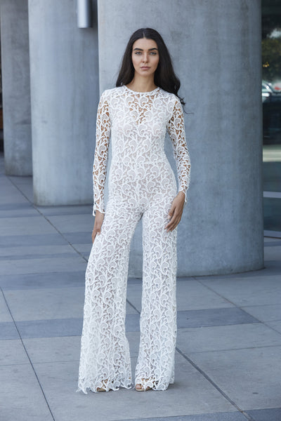Alice Lace Jumpsuit - White - WantMyLook