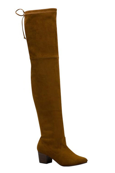Seattle Suede Over The Knee Boots - Tan