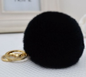 Fur Plush Key Chain - Black