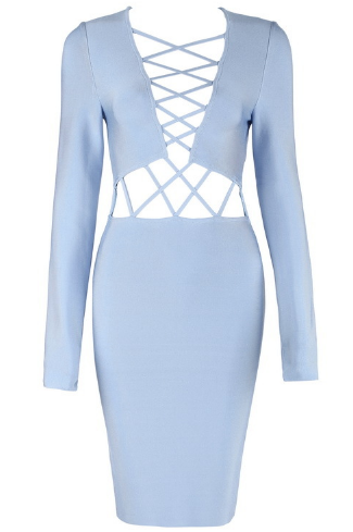 Cat Lace Cut Out Dress - Dusty Blue