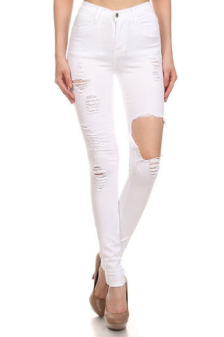 Sway Distressed Denim Jeans - White