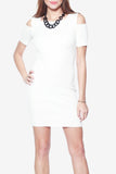 Ada Cold Shoulder Knit Dress - White - WantMyLook