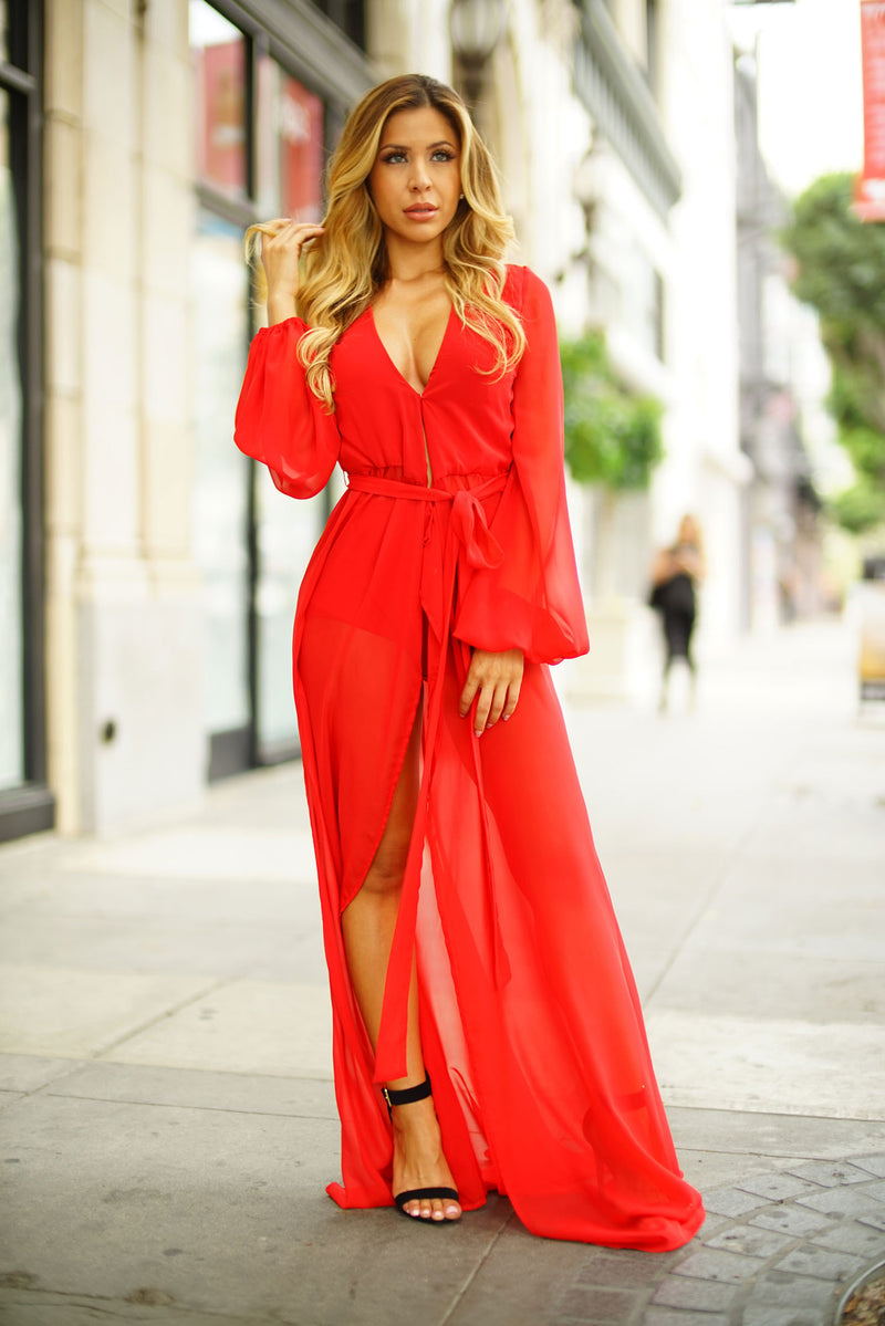 Amber Wrap Dress - Red - WantMyLook