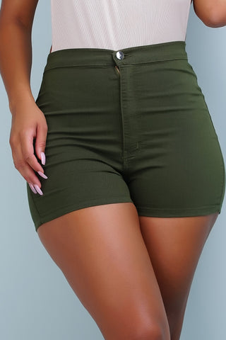 Aphrodite High Rise Round Shorts - Olive