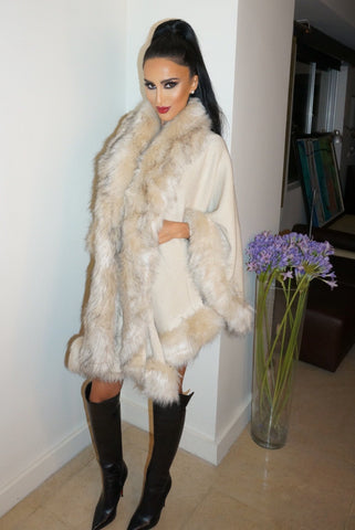 Rodeo Faux Fur Poncho - Ivory