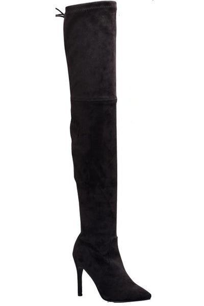 Lexington Suede Over The Knee Boots - Black