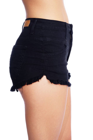 Mid-Rise Black Denim Shorts - WantMyLook