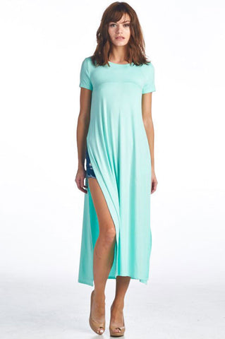 Essential Double Slit T-Shirt - Mint