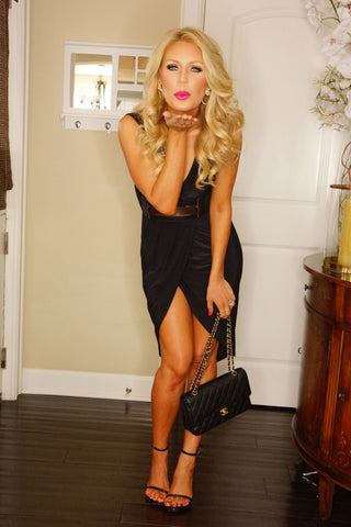 Caroline Belted Dress - Black - WantMyLook