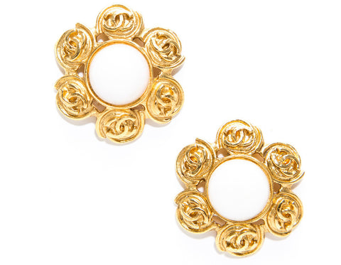 Chanel White Stone Gold CC Clip On Earrings