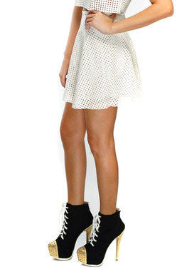 Debra Faux Leather Skirt - White
