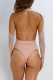 Crystal Mesh Bodysuit - Blush