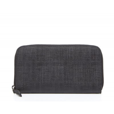Fendi Black Zucca Zip Around Wallet