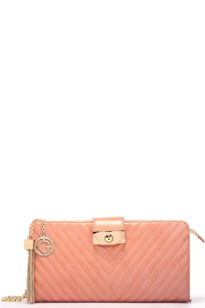 Sweet Serenade Crossbody Clutch - Blush