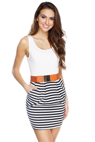 Heidi Belted Striped Dress - White/Black - WantMyLook