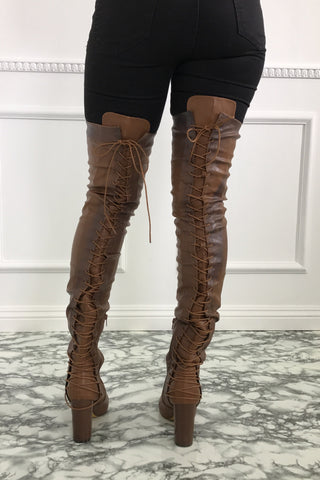 Addison Thigh High Boots - Cognac
