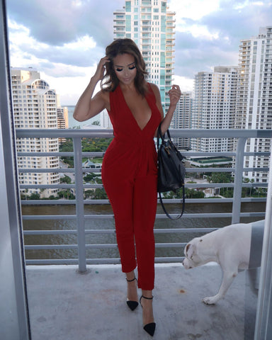 Corinne Jumpsuit - Red