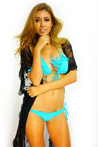 Into The Frill Triangle Bikini - Aqua - WantMyLook