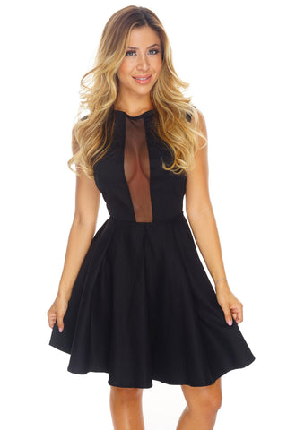 Andrea Skater Dress - Black