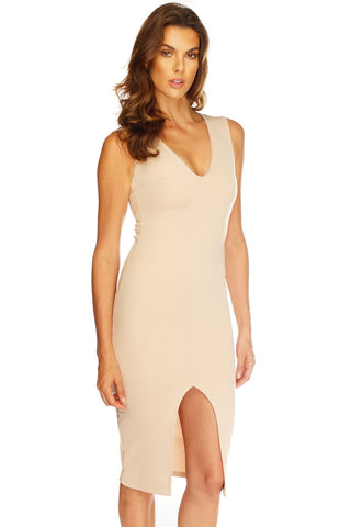 Katrina Midi Dress - Nude - WantMyLook