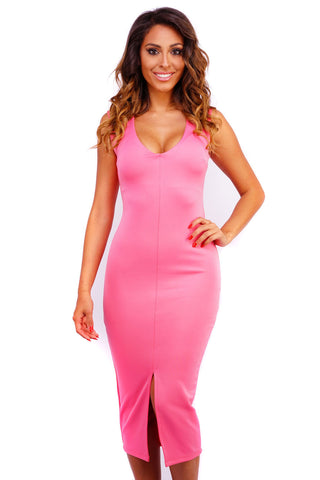 Katrina Midi Dress - Pink - WantMyLook