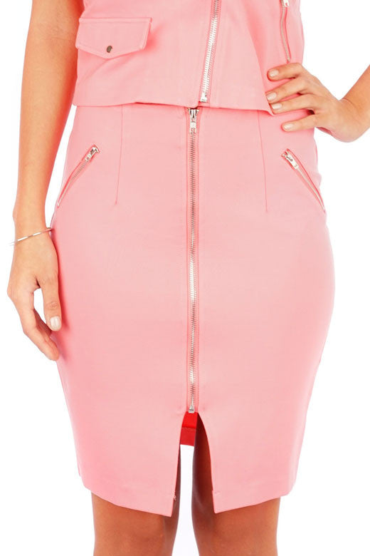 Lady Boss Zipper Skirt - Pink - WantMyLook