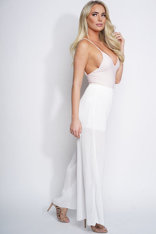 Page Pleated Wide Leg Pants - White - WantMyLook