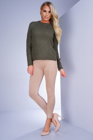 Addison Suede Leggings - Taupe - WantMyLook