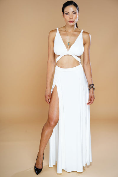 Serena Suede Maxi Dress - White